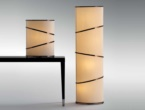Orione Ribbon, Bronze Shadow table and floor lamps.